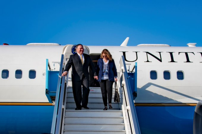 Secretary of State Michael R. Pompeo and Mrs. Pompeo disembark an airplane after arriving in Israel on March 20, 2019.