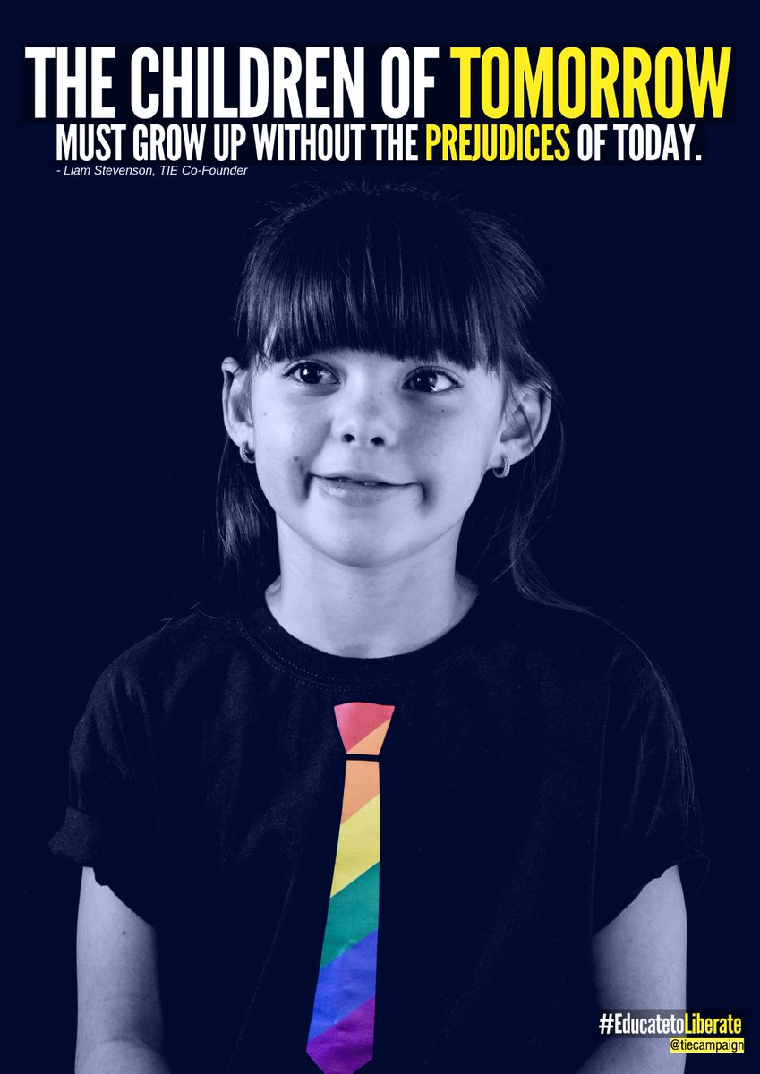 We believe that the children of tomorrow must grow up without the prejudices of today.   LGBT-inclusive education is crucial to ensure that all young people feel included & that our schools are reflective of the diverse society in which we live #EducatetoLiberate🏳️🌈