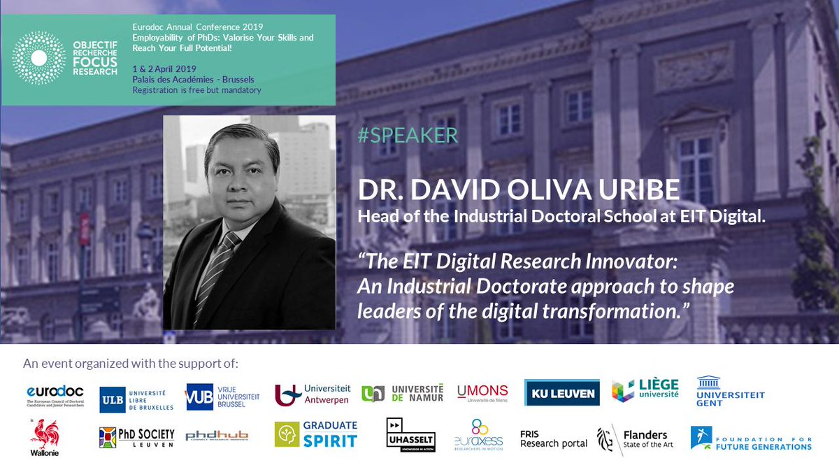 Happy to soon participate at the @Eurodoc 2019 Annual Conference. @EITDigitalAcad Industrial Doctoral School foster the development of young researchers to become leaders of the digital transformation and bringing universities and industries to collaborate together.