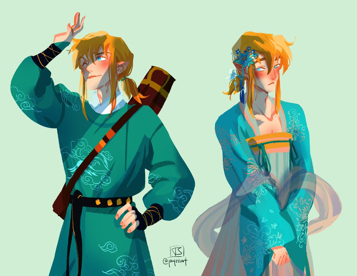 daily doodle as voted by you: link from zelda in hanfu! he&#39;s wearing yuanlingpao (a type of male hanfu) and ruqun (a type of female hanfu) #fashion #artistsontwitter #traditionalchineseclothing<br>http://pic.twitter.com/Lk83xTtPBB