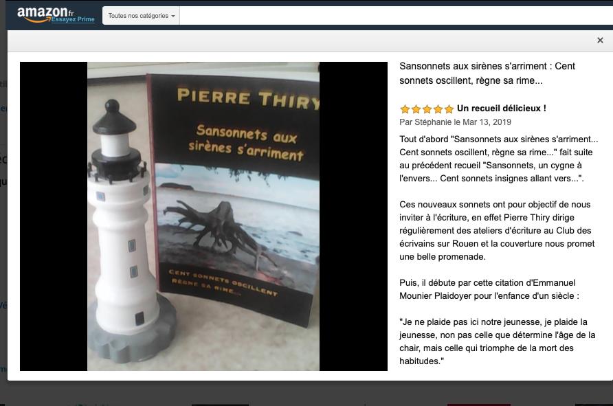 #MercrediConseil #MonPetitBonheurCest #Journeemondialedubonheur #ConseilsLecture #Amazon #Livreenpapier #AuteursBoD #Plumesindes #avisdeslecteurs #lecturebonheur #sonnets SANSONNETS AUX SIRÈNES S'ARRIMENT a reçu ce retour de lecture sur ce site de ventes.  https://www.amazon.fr/Sansonnets-aux-sirènes-sarriment-oscillent/dp/2322163058…