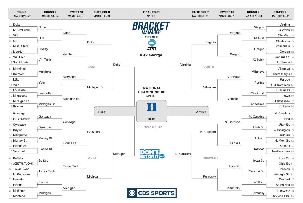 Sign me up for upsets and chaos, but a chalk happy ending #ThisIsMarch