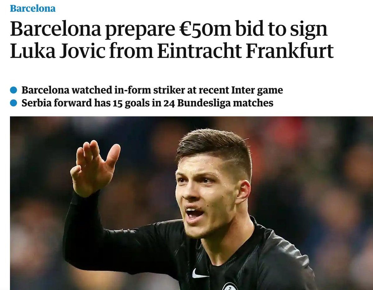 The Guardian claims that Barcelona are preparing a 50M bid for Jovic.