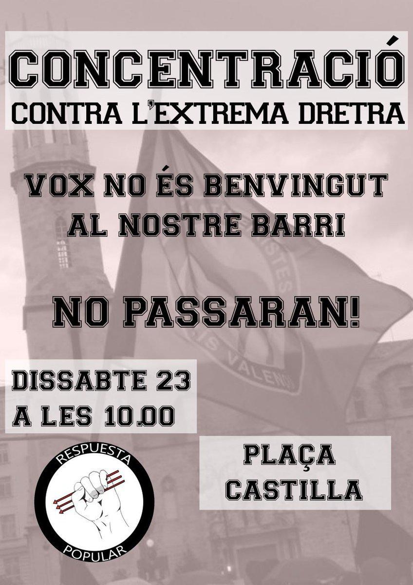El Sábado en Plaza Castilla se reunirá el partido de extrema derecha VOX.  Desde Respuesta Popular convocamos a todos y todas las antifascistas a concentrarse contra el odio, contra la intolerancia y el racismo.  ¡EL SÁBADO A LAS 10:00 EN PLAZA CASTILLA!  ¡NO PASARÁN!