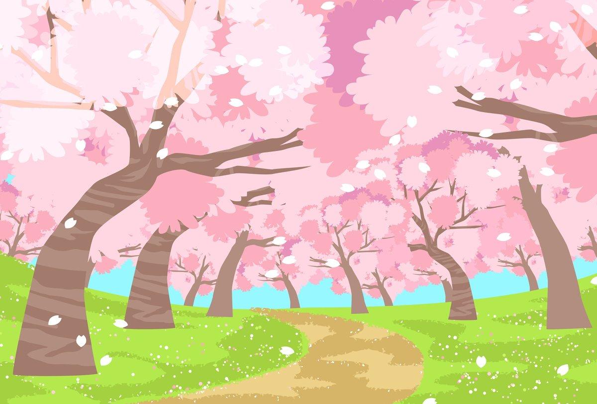 桜の咲く道 フリー素材 イラスト かわいい 桜 サクラ さくら 春