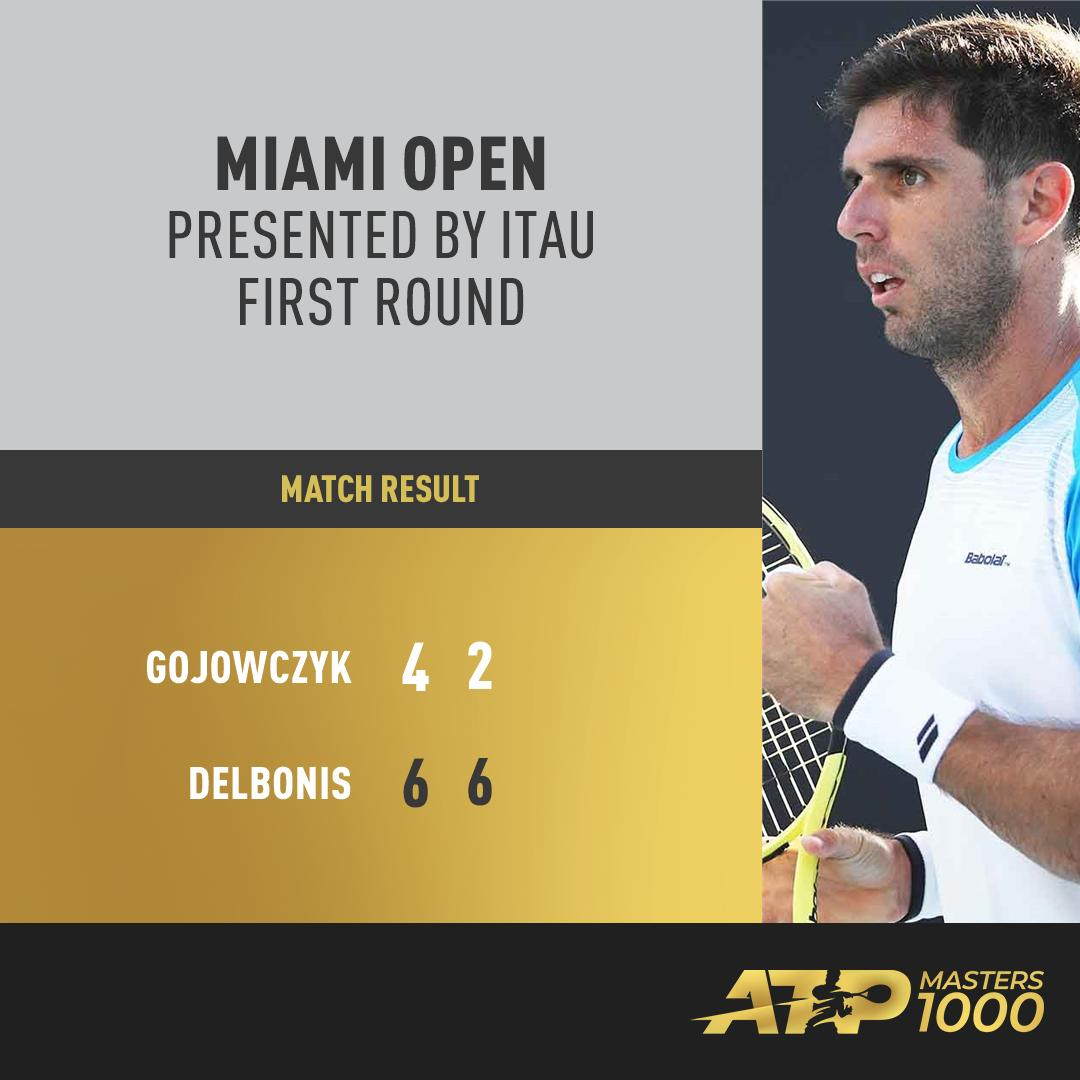 #ATPTour #Tennis Delight for Delbonis!   FedeDelbonis is the first main-draw winner on Day One at the MiamiOpen. #MiamiOpen<br>http://pic.twitter.com/DJtpvubsl6