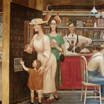 """For #MuralMonday, check out Doris Lee's 1938 mural """"General Store and Post Office"""" in the William Jefferson Clinton Fed Bldg. Executed in a simple style, it illustrates the role of the mail in the community. https://t.co/K1zucQCeDG #WomensHistoryMonth #5WomenArtists"""