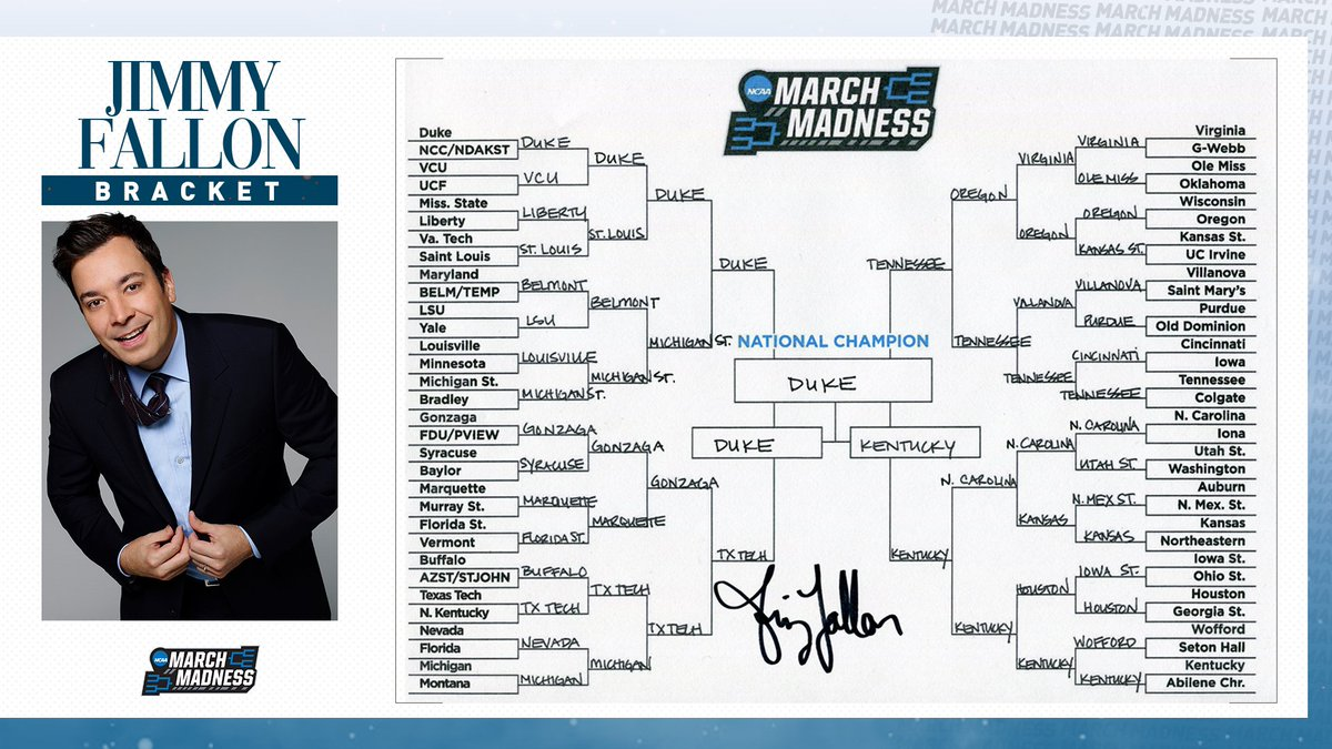 Saint Louis to the Sweet 16? Oregon to the Elite 8?  @jimmyfallon's bracket is locked in! What do you think? #MarchMadness