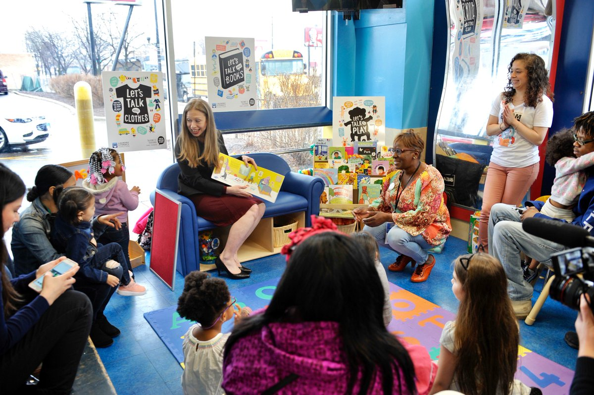 Earlier today, @ChelseaClinton joined us to celebrate early childhood programs and literacy. CPL continues to reach the community by bringing engaging story times to laundromats across the city. Thanks @laundrycares and @2SmallToFail!
