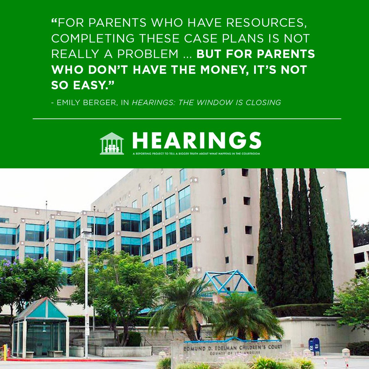 "test Twitter Media - ""Hearings"" is now taking us to LA - the court hasn't terminated the rights of this mother but it has stopped making an effort to reunify her with her kids. https://t.co/gKMfzhlDoi @ChronicleSC #childwelfare #LA #courtrooms https://t.co/9bl1t99Ajr"