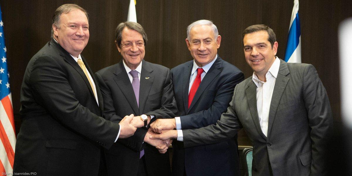 Σε β΄πλάνο η τετραμερής Ελλάλφας , Κύπρου, Ισραήλ εξαφανίστηκε από τα ισραηλινά μέσα, επισκιάστηκε 100% από συνάντηση Πομπέο - Νετανιάχου. Νετανιάχου: θα συνεχίσουμε να χτυπάμε τη Συρία, ήρθε η ώρα για αναγνώριση του Γκολάν ως ισραηλινού από τη διεθνή κοινότητα.