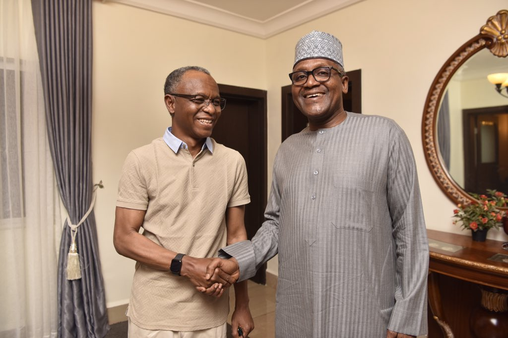 Back from a short holiday,  Malam Nasir Ahmad @elrufai is in a meeting with Alhaji Aliko Dangote in Abuja this evening. <br>http://pic.twitter.com/h1gCcDwVfv