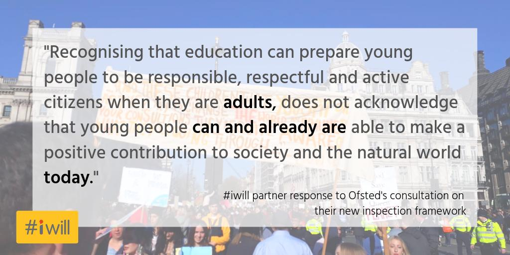 """We call on Ofsted to go one step further...""  Members of the #iwill campaign Education Steering Group have created headlines to build on, in your response to the @Ofstednews consultation on their new inspection framework.   Read more here: https://buff.ly/2W9CCl9"