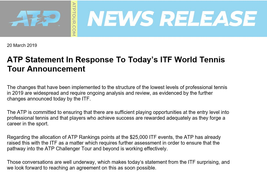 #ATPTour #Tennis ATP Statement In Response to Today's ITF World Tennis Tour Announcement<br>http://pic.twitter.com/Fq64NX6rIY