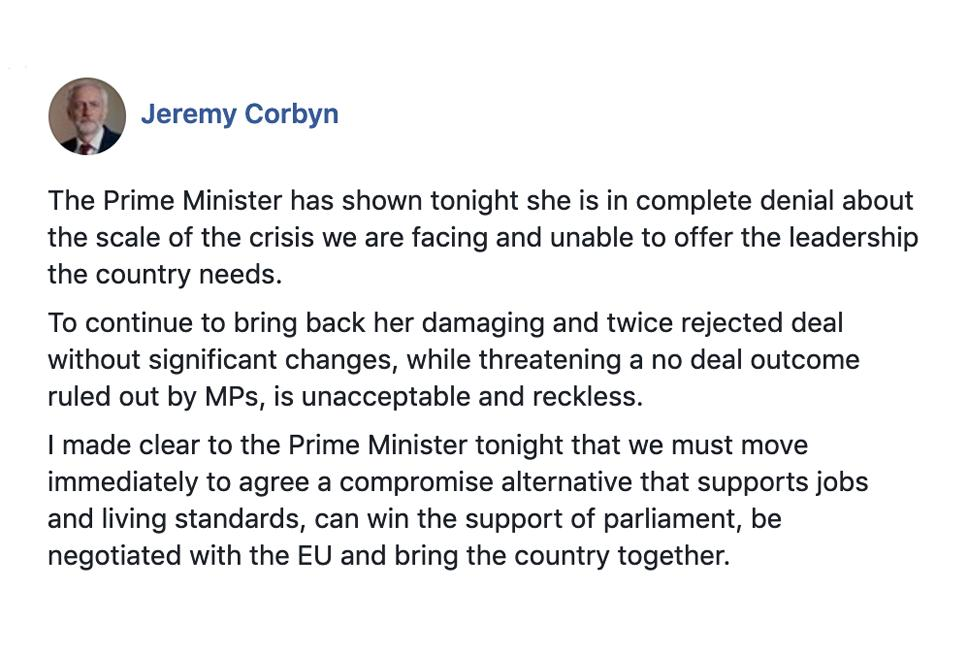 In a phone call this evening, I made clear to the Prime Minister that we must immediately agree to a compromise alternative that supports jobs and living standards, can win the support of parliament, be negotiated with the EU and bring the country together. <br>http://pic.twitter.com/pryWUyhroJ