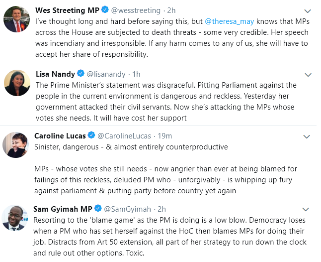 MPs react to #TheresaMay&#39;s statement tonight.   We agree with all of them.   What we heard this evening was an incredibly dangerous &amp; irresponsible display of contempt for the democratic process.   May isn&#39;t just a complete failure as a PM, she is a threat to our democracy.<br>http://pic.twitter.com/4F248OJyXC