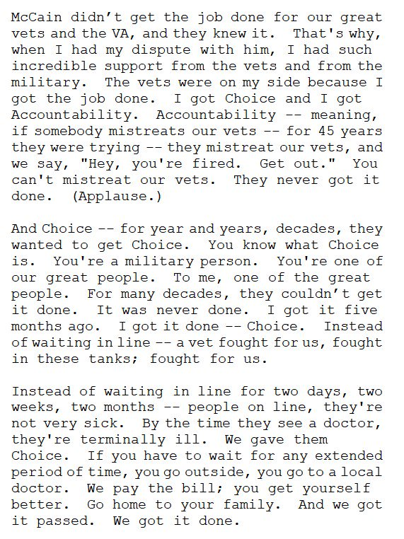In a particularly brazen bit of lying today, Trump said McCain didn't deliver for veterans, unlike him, Trump, the man who got Veterans Choice passed.  Choice was passed in 2014...and McCain was the key Republican legislator behind the bill. https://t.co/LE3rwa8skD