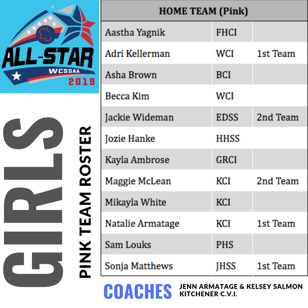 Rosters for the @WCSSAA Girls Basketball All Star Game!  Tuesday March 26th @ WCI 6pm. $5 at the door w/ proceeds to Canadian Breast Cancer Society.  The 2019 Julie Devenny Sr. Girls MVP award to be presented at Halftime.