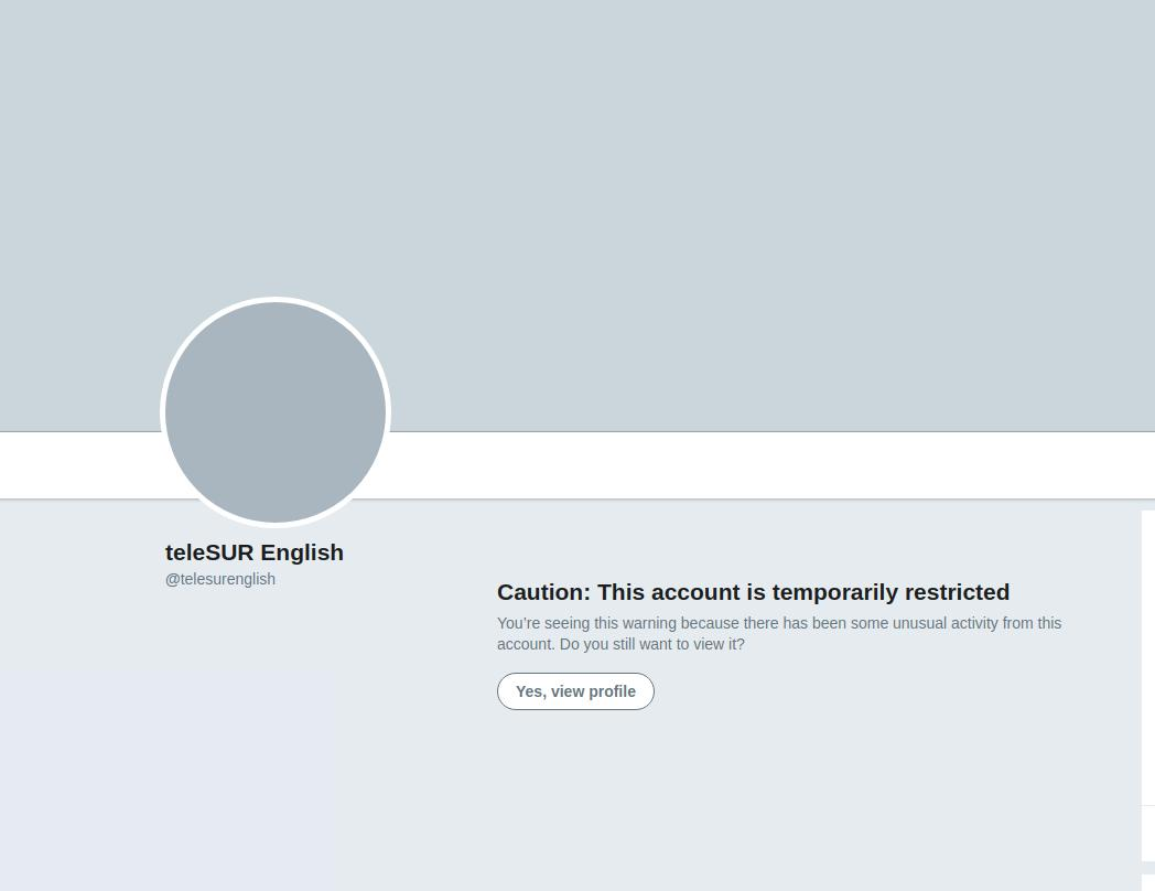 """Social media crackdown on dissenting voices continues. After exposing war criminal Elliot Abrams' buffoonish attempts to explain how @jguaido is """"interim president"""", @telesurenglish now """"temporarily restricted"""""""