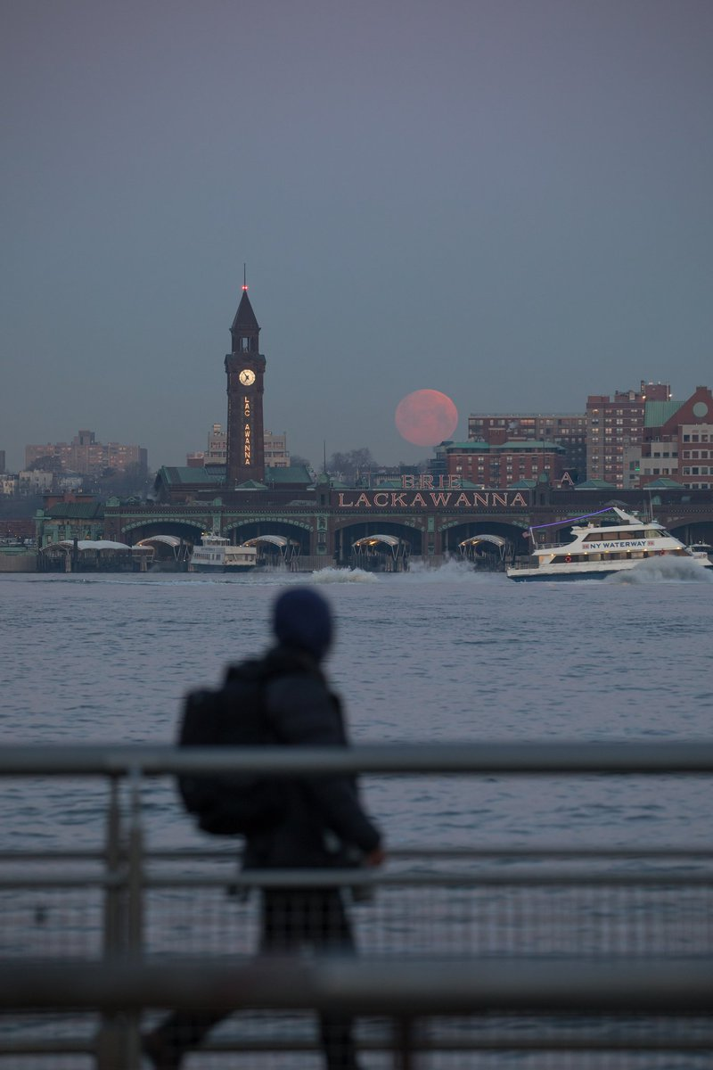 This morning's moonset fading over the New Jersey skyline from the West Village #SuperWormMoon