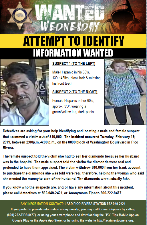 #WantedWednesday #LASD @PRVLASD Detectives are Asking for Your Help Identifying & Locating Two Suspects that Scammed a Woman Out of $10,000. #PicoRivera https://www.facebook.com/LosAngelesCountySheriffsDepartment/photos/a.227394993954088/2673881712638725/?type=3&theater…