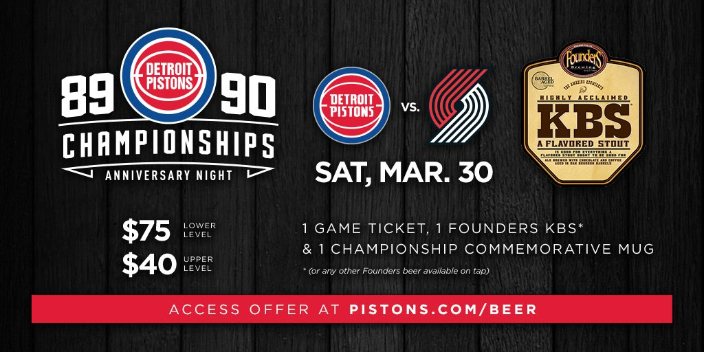 March 30 is our next Craft Beer night with @foundersbrewing!  Get a ticket, a Founders beer on tap and a commemorative mug.  Use code FOUNDERS at http://Pistons.com/Beer