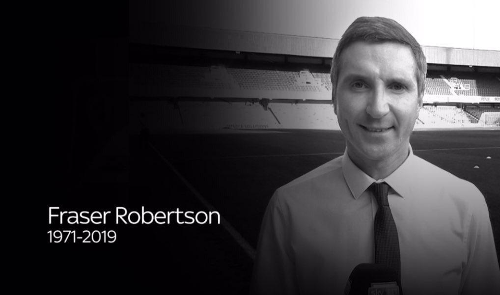 Everyone at the EFL is saddened to hear the passing of Sky Sports News presenter Fraser Robertson. RIP. <br>http://pic.twitter.com/4Xsz1NnmDg