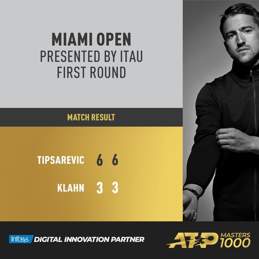 #ATPTour #Tennis First tour-level win of 2019.    TipsarevicJanko | #MiamiOpen<br>http://pic.twitter.com/Wu5cggAJKR