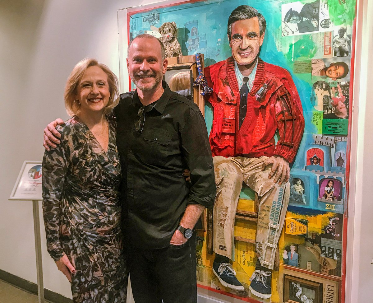 Pbs Pressroom On Twitter It Was A Beautiful Day In The Pbs Neighborhood As Artist Waynebrezinka Unveiled His Portrait Of Mister Rogers The Multi Dimensional Piece Uses Artifacts Memorabilia Printed Paper To