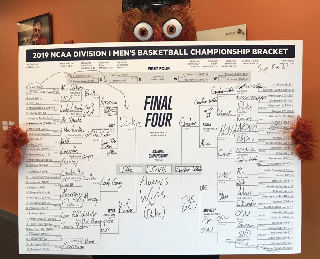 Gritty's March Madness bracket is a delightful mess