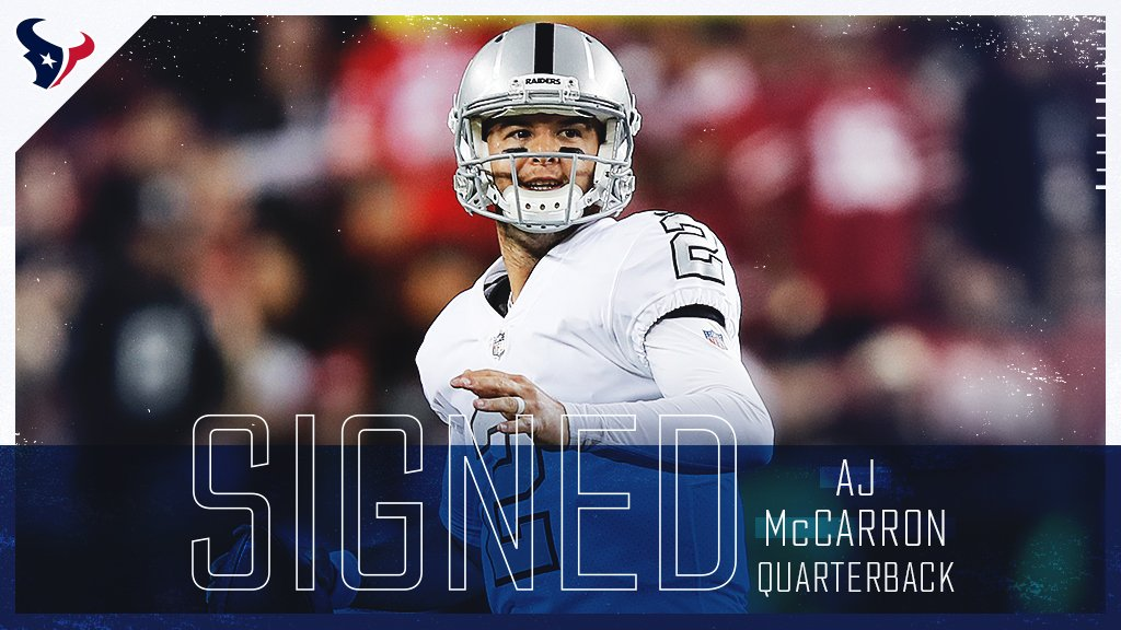 The #Texans have signed free agent QB AJ McCarron.  Welcome to Houston, @10AJMcCarron!   »  http:// bit.ly/2CsvBEy  &nbsp;  <br>http://pic.twitter.com/HoMcXjCzPE