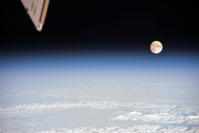 It's a full moon as viewed from the International Space Station (ISS) on 3 January 2015. Astronaut and Cosmonaut crews have a wonderful view of our Earth and the space around it during their tours of duty aboard the ISS.