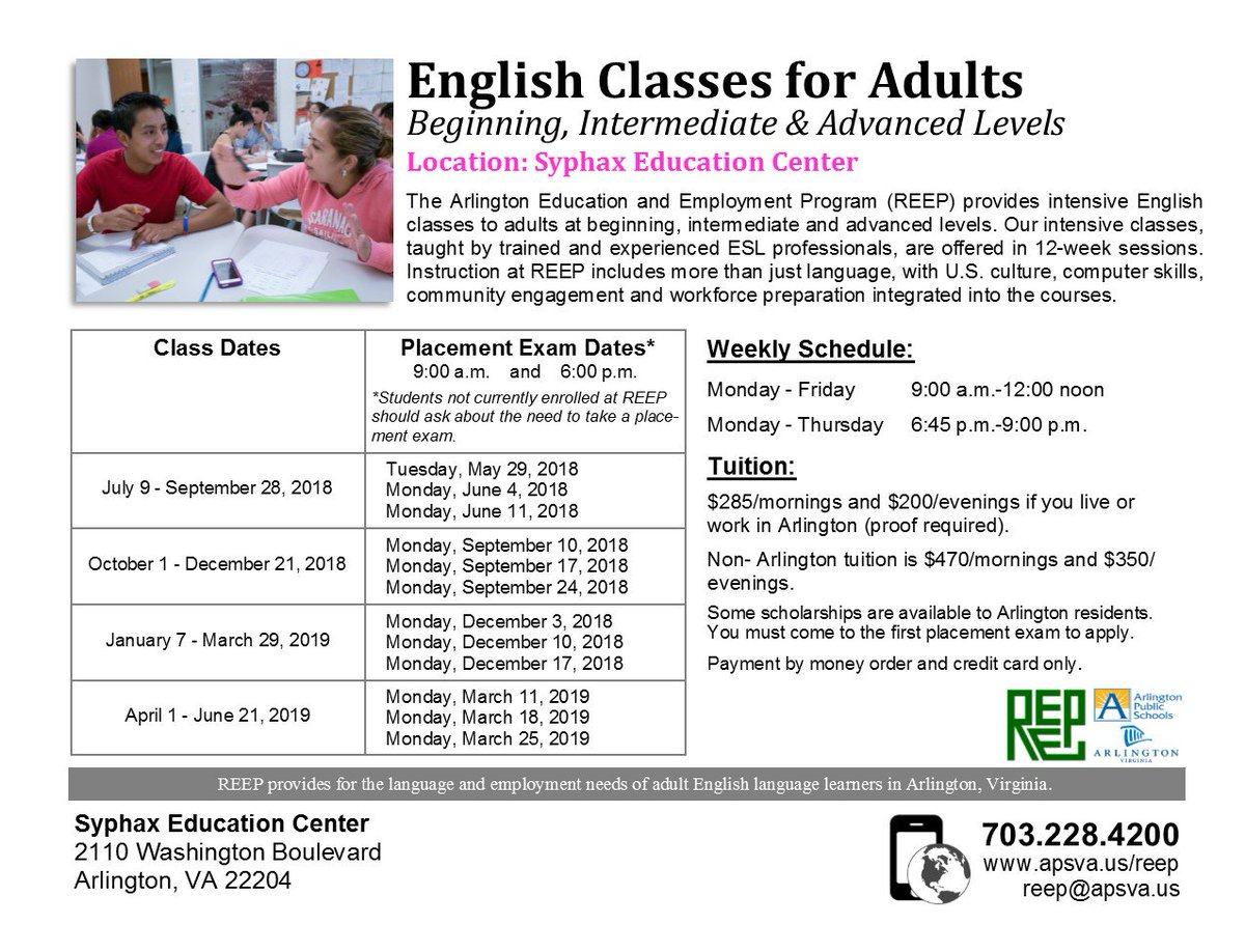 Need better English?  Improve your language skills with English classes for adults at Syphax Education Center -- Intensive, Conversation, ServSafe &amp; TOEFL Prep classes from April to June. Final PLACEMENT EXAM date: Monday, March 25 at 9 a.m. or 6 p.m. <a target='_blank' href='https://t.co/CwiRTFbd3W'>https://t.co/CwiRTFbd3W</a>