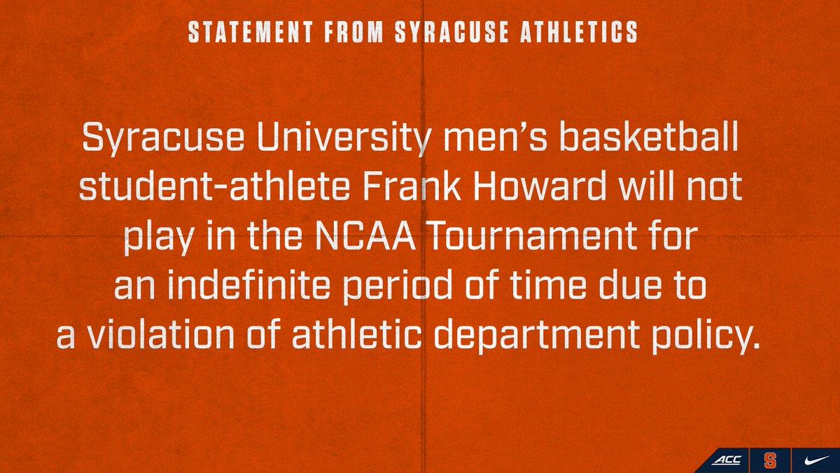 Statement from Syracuse Athletics: