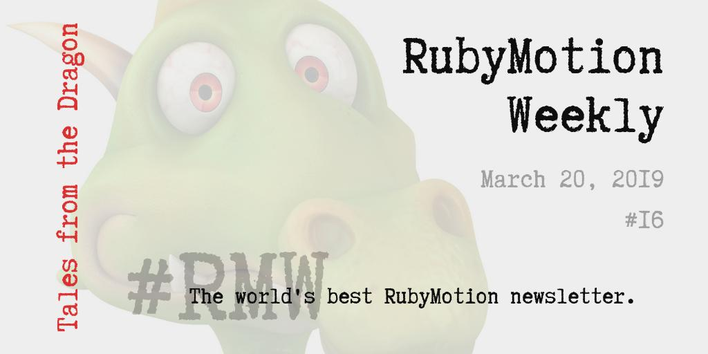 #RubyMotionWeekly 03-20 ♦️ #OPED: Our Unvarnished Opinion ♦️ #FITS: Featured in the School ♦️ #MSH: Motioneers Slack Highlights ♦️ #GOTW: Gem of the Week ♦️ #COMM: Community ♦️ #AHOTW: App Highlight of the Week ♦️ #TWIL: This Week I Learned http://ow.ly/EF4450nFCDm