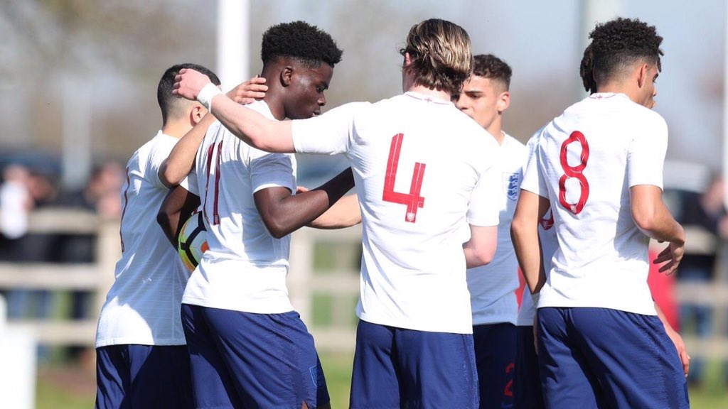 Bukayo Saka made his full debut for the England U19s this afternoon; playing 66 minutes, scoring twice & as well as providing an assist as they beat the Czech Republic 4-1 in their Euro qualifier.  Nice one, @BukayoSaka87! #afc
