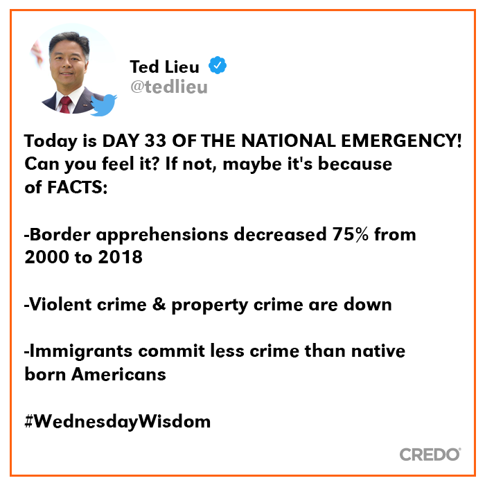 An important reminder from Rep. @tedlieu. #TedLieu #FakeEmergency #TrumpIsTheNationalEmergency #FactsMatter<br>http://pic.twitter.com/wS8tL0er3d