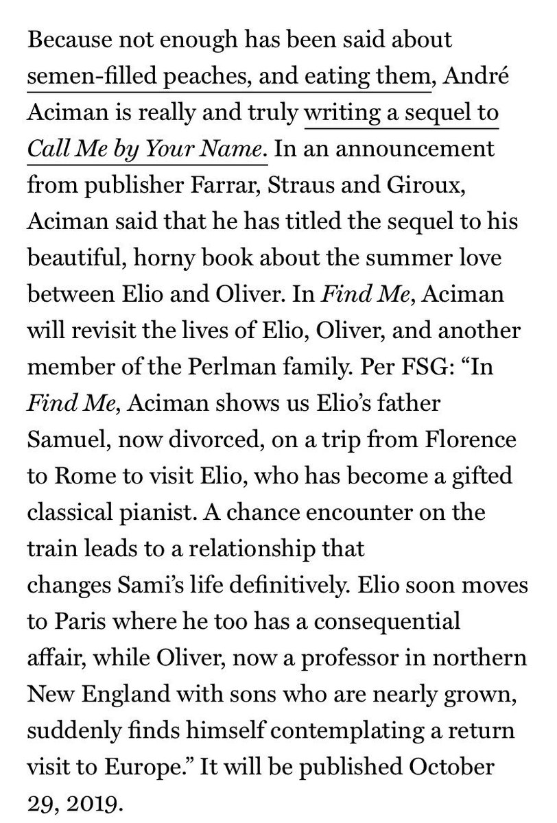 print] Find Me | Call Me By Your Name book sequel out in October