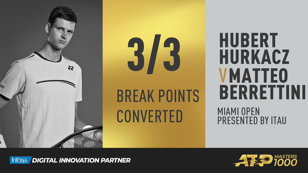 #ATPTour #Tennis  Hurkacz d. Berrettini 6-4, 6-3.   The 22-year-old will meet Indian Wells champion Dominic Thiem in the second round.  #MiamiOpen<br>http://pic.twitter.com/TbLMS9PBNJ