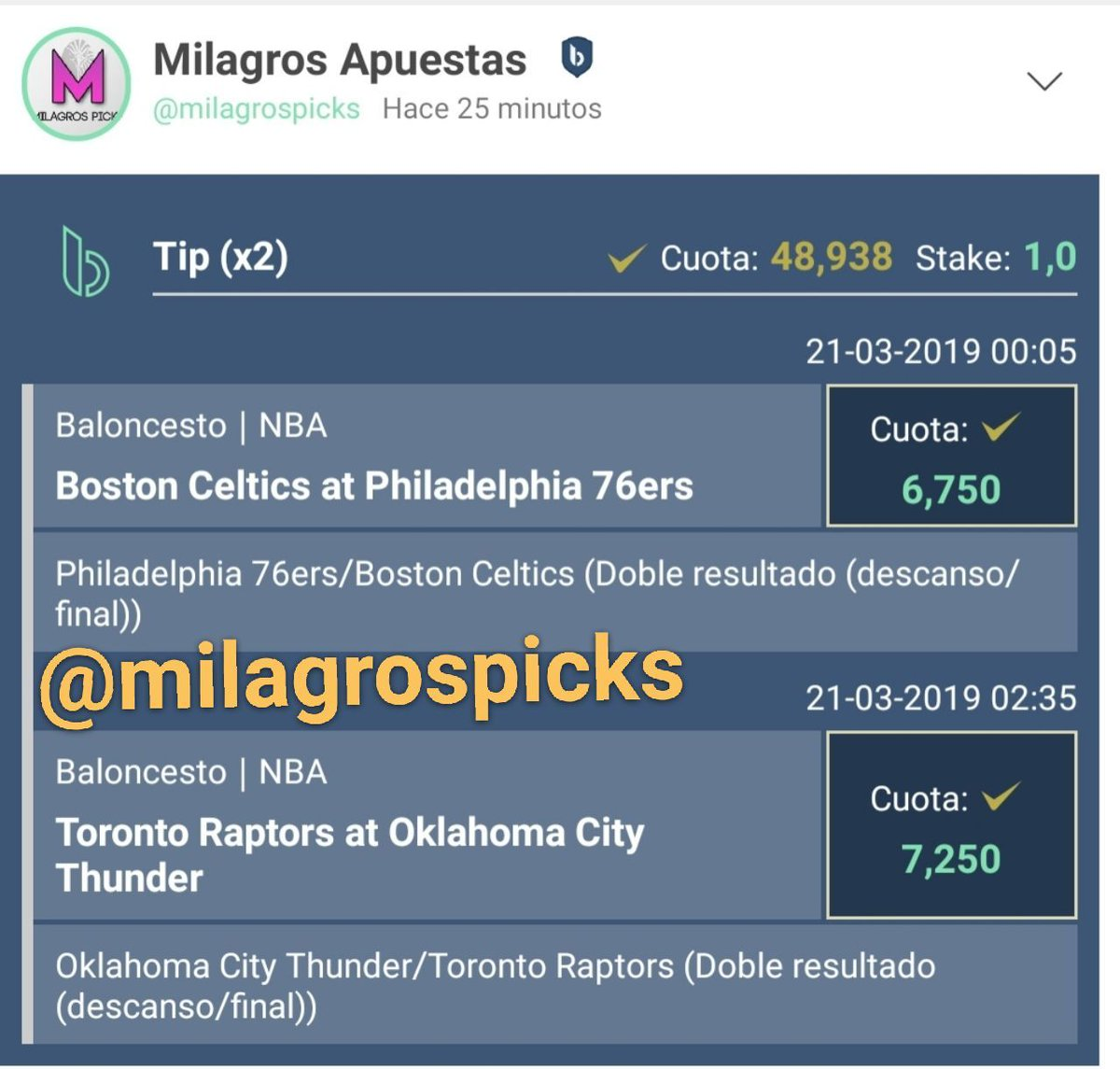 NBA   Combinada:  HT/FT: PHI Sixers/BOS Celtics  HT/FT: OKC Thunder/TOR Raptores   Cuota @48,93 - #FUNBET  <br>http://pic.twitter.com/sg0awTfZIg