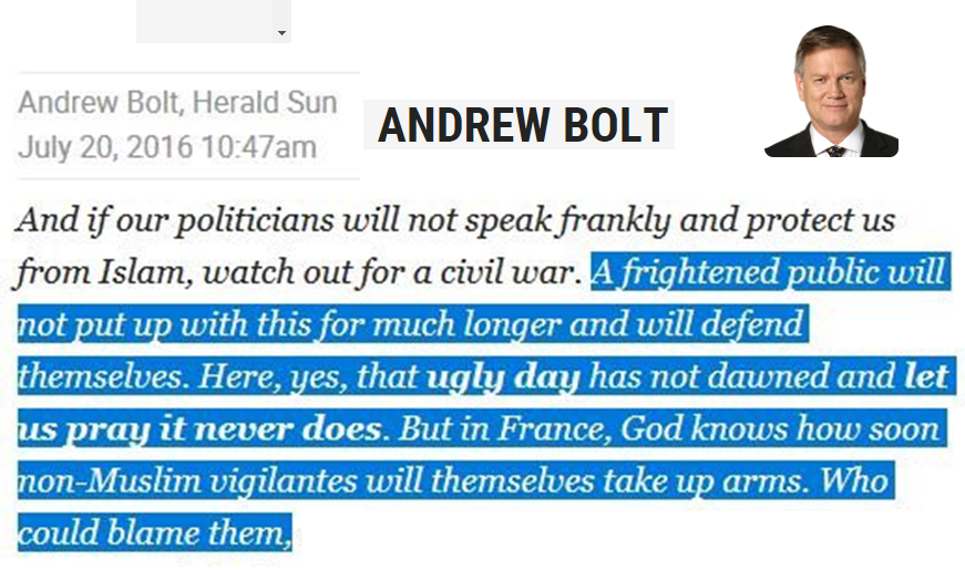 While Sky News and Andrew Bolt are frothing about SG Oz lets just remind everyone of comments he made and News Corp published.  No matter how often they demand their innocence every day we demonstrate their overt racism and willingness to promote it  #Auspol #AdShame #SkyNAD<br>http://pic.twitter.com/juEYj4zoQu