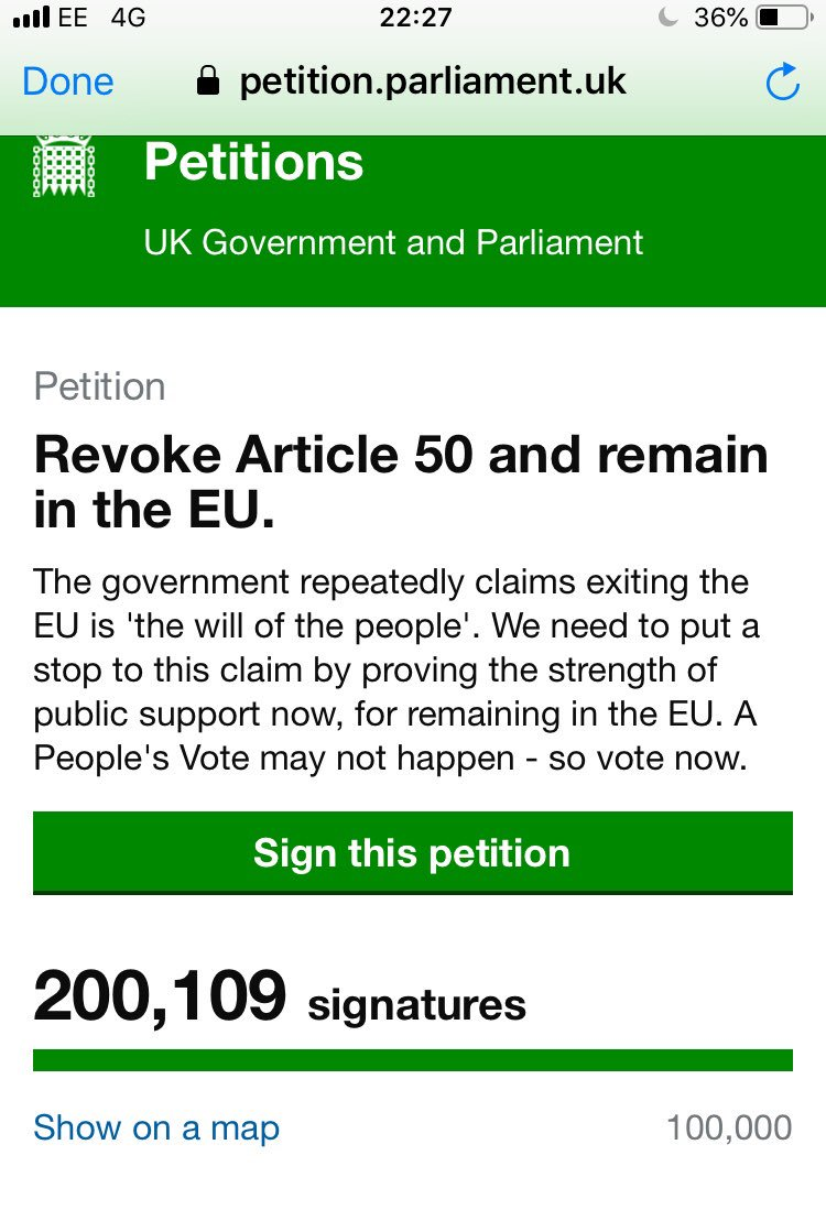 We spent a year in the courts to secure the ability to revoke Article 50. Let's use that power. 200,000 signatories & rising. https://petition.parliament.uk/petitions/241584…