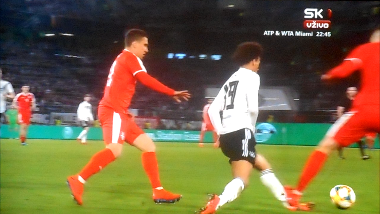#JoachimLow is right, this was a crazy tackle from #Pavkov that could have broken #LeroySane's leg (watch here http://bit.ly/PavkovSane) 😱😱😱  It's insane that he made this tackle in the 93rd minute of a pointless friendly match 🤬🤬🤬