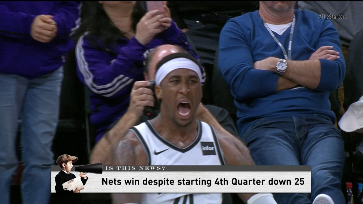 The Nets rally from 28 points down thanks to @Dloading's 44 points to beat the Kings Tuesday night. Is this news? #TheStarters debate.