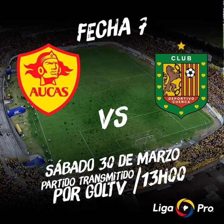 Llega la séptima fecha de la #LigaProBancoPichincha. ⚽️  El sábado 30 de marzo a las 13h00, el #ExpresoAustral se enfrenta al Aucas en la ciudad de Quito. 🎉 📺Partido transmitido por GOLTV.  ¡Vamos equipo! 🔴⚫️