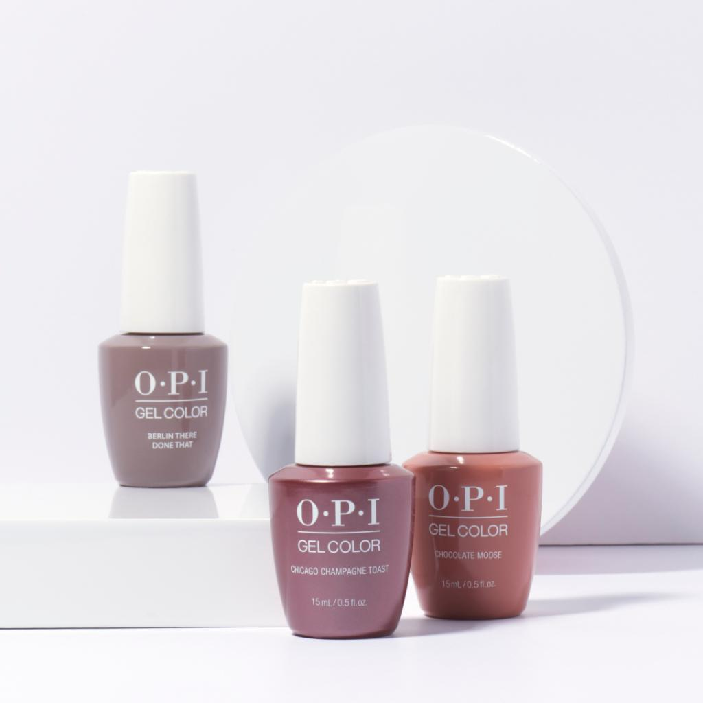 """Some of us can't say no to a nude nail. """"Berlin There Done That"""", """"Chicago Champagne Toast"""" and """"Chocolate Moose"""" in OPI GelColor. We've got a nude for every skintone! Which is your favorite? Discover here: http://opi.is/kaGtMR"""
