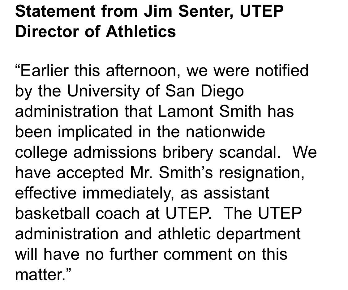 Texas-El Paso assistant coach Lamont Smith quits after being identified in bribery scandal
