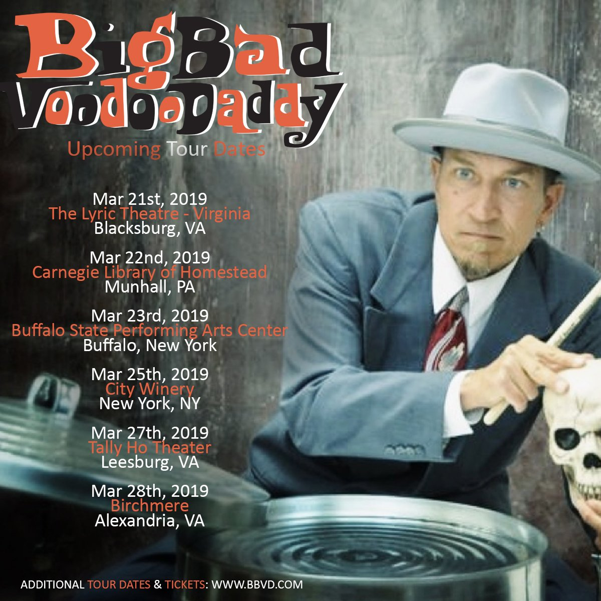 Upcoming @BBVD tour dates!  Get additional tour dates and ticket links here: http://www.BBVD.com  #swingmusic #bbvdtour2019 #25yearsofbbvd