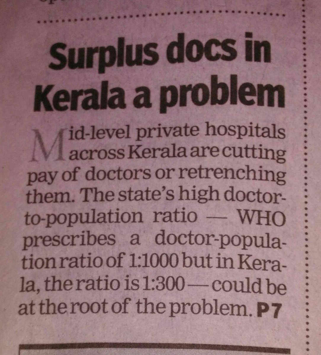 @TOIIndiaNews Responding to 2days Article TOI. Is this blessing in disguise Or does it implies that states like UP, Bihar,MP,Rajasthan is better interms of human Development Index with few Doctors for 1L citizens. At least in kerala Dotctors are not made by Caste or religion. <br>http://pic.twitter.com/5fLNBTsOzP