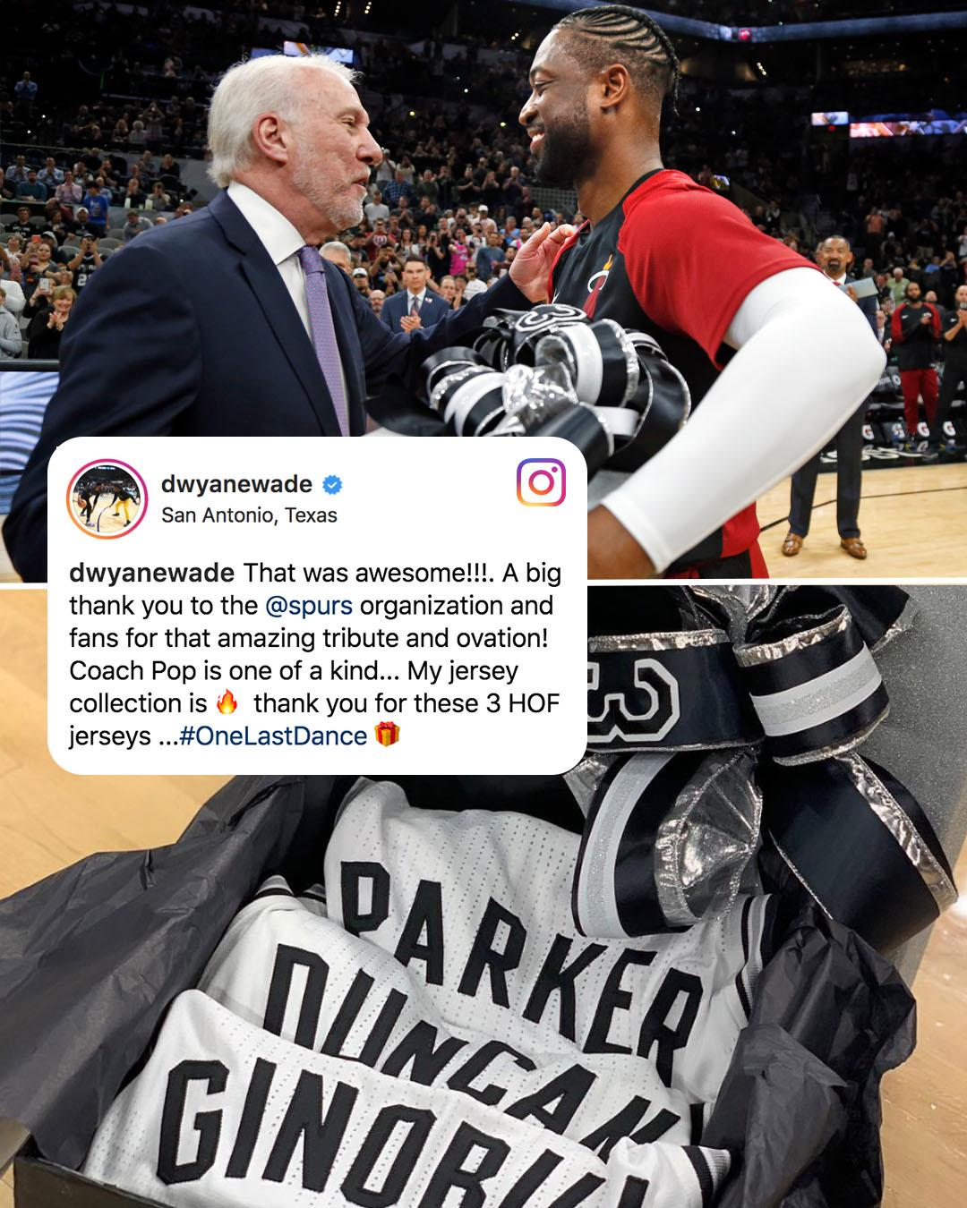 D-Wade's signed jersey collection got a lot more ��, thanks to Coach Pop. #OneLastDance (via @DwyaneWade) https://t.co/Als7ee81p7